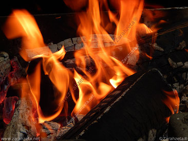 Grillfeuer mit Holzhohle