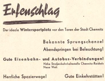 Werbeanzeige von Erfenschlag 1939/40