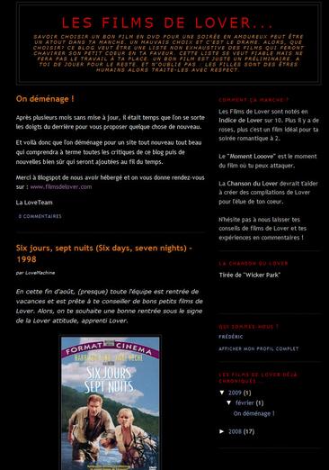 Le blog FilmsdeLover, juillet 2008 - février 2009.