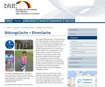 BFDT, Preisträger, vorbildliches Projekt