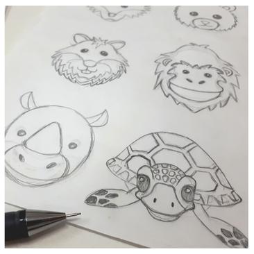 Entwurf Zeichnung Gefährdete Gefährten Bleistiftzeichnungen Tiere Kindermode Artenschutz