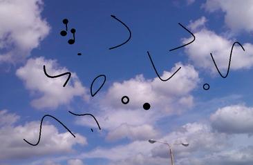 青い空、白い壁を見つめたとき、黒い点、髪の毛の様な物に気付くことがある。