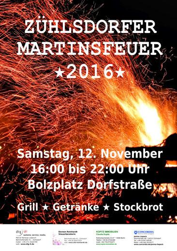 Flyer für das Martinsfeuer