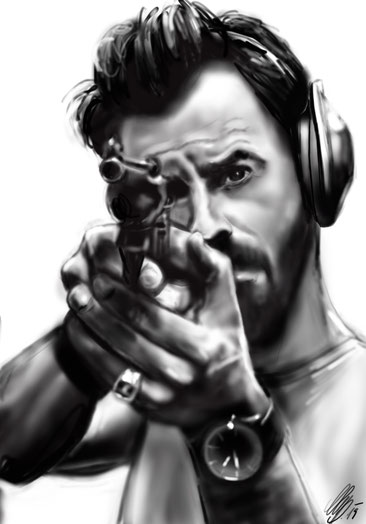 """Justin Theroux"", digital paiting, procreate, 2019"