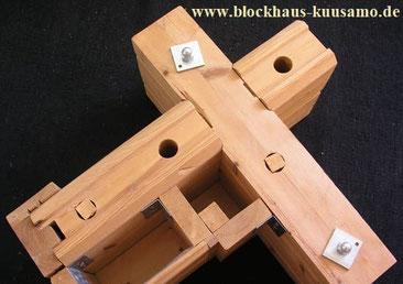 Prinzip von Thermowand - Blockbalken 135 x 195 mm, Dämmebene 145 mm. Blockpanel oder Bauplatten