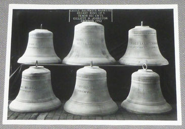 Castle Bromwich bells before hanging in 1952 at Gillett & Johnston's foundry in Croydon