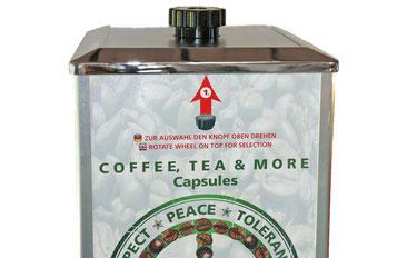 Wählrad für Kaffeekapseln, Teekapseln, Kakao oder Suppe.