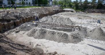 Chantier de fouilles archéologiques, rue du Général Exelmans à Vélizy.