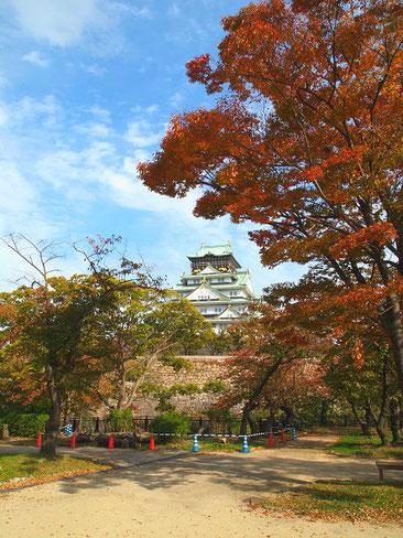 大阪城 西の丸庭園から天守閣を望む