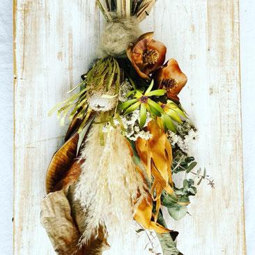 9月1dayレッスン『パンパスグラスの秋色スワッグ』作り