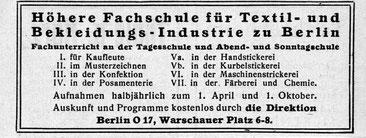 Ernst Flemming: Fachrichtungen Höhere Fachschule für Textil- und Bekleidungs-Industrie Berlin, um 1920