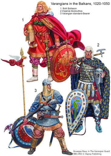 """Bolli Bollason wird in der Laxdæla Saga beschrieben wie er 1030 von Konstantinopel heim kommt:  """"Er trug Kleidung aus Samt, die der Kaiser ihm gegeben hatte, und darüber einen Umhang aus feinem roten Stoff; an seiner Seite trug er sein Schwert Fotbitr""""..."""