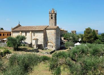 Kleine Kirche in Monteriggioni, umgeben von Olivenbäumen