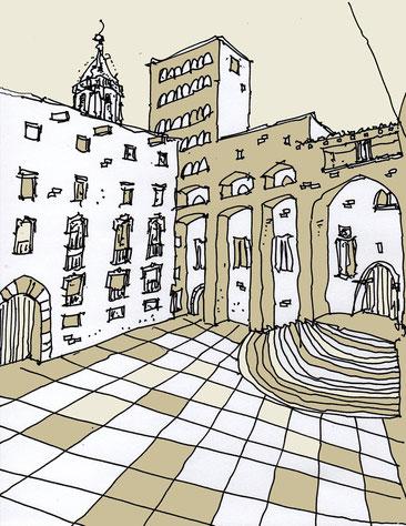 Plaça del Rei, il·lustració de Josep M. Farré