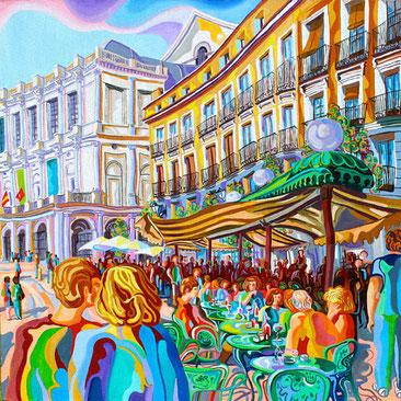 PLAZA DE ORIENTE (MADRID).Oleo sobre lienzo. 80 x80 x 3,5 cm.