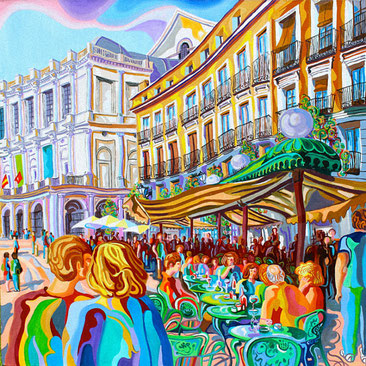 PLAZA DE ORIENTE (MADRID).Oil on canvas. 80 x80 x 3,5 cm.