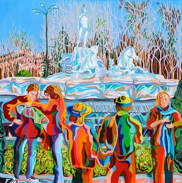 FUENTE DE NEPTUNO (MADRID).Huile sur toile. 80 x80 x 3,5 cm.