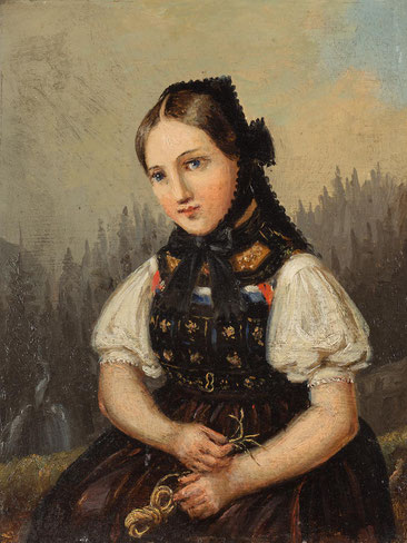 Johann Baptist Laule, Ölstudie einer strochflechtenden jungen Frau in schwarzwälder Tracht