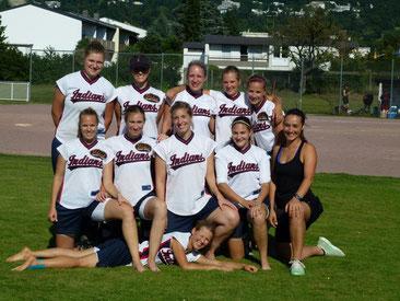 1.Softball Bundesliga, 2012, Gauting Indians, Trainerin Sara Humpf (rechts außen)