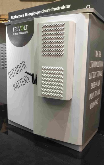 Gewerbe Stromspeicher Beispiel Firma Tesvolt Outdoor Variante Klimatisierung Akku Batterie Firmen