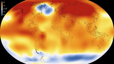 すっぽりと高温におおわれた緑の惑星「地球」     NASA