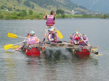 Flossbau, Piratenfest, Teambuilding, Geschiner See, Obergoms, Wallis