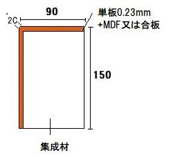 材木屋オンラインショップ 玄関框 上框の断面図