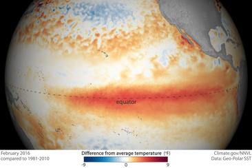 地球を襲うエルニーニョの赤い唇 Climate.gov / NNVL