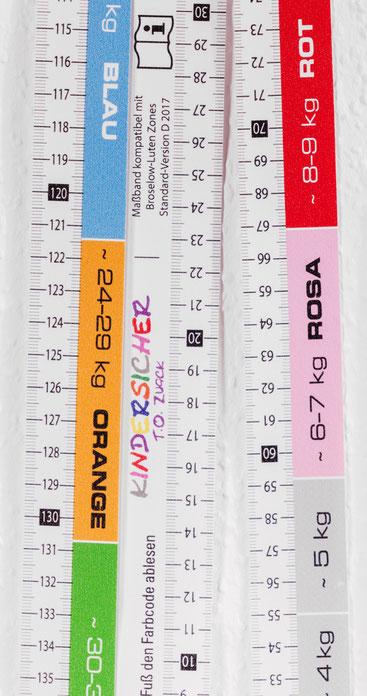 Das Farbcodierte KINDERSICHER-Maßband mit Broselow-Farbcode für den Kindernotfall