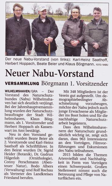 Wilhelmshavener Zeitung v. 25.3.2015