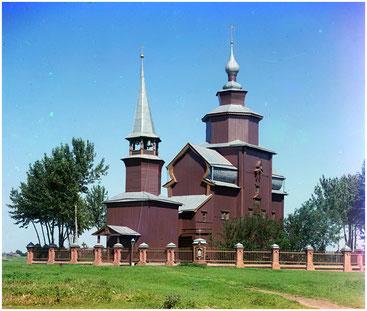 Деревянная церковь в селе Богослов. Фотография Прокудина-Горского