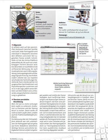 Testbericht Trainingsplanung mit iQ athletik aus der Running - Das Laufmagazin