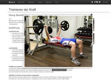 Trainingsvorgaben in Wort, Bild und Video. Screenshot von atleta.de