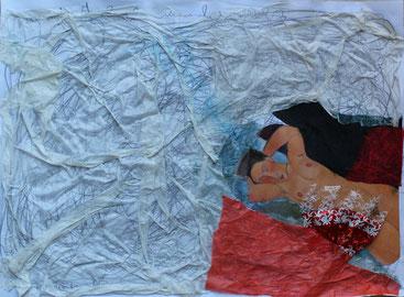 05/2014 WS Papier/Collagen: Frau in den Kissen