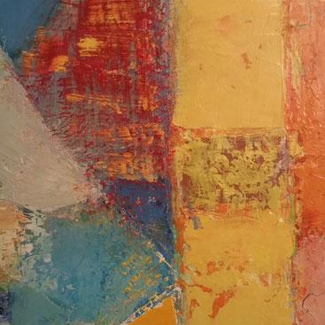 Ausschnitt aus abstraktem Ölbild in gelb, blau, rot, orange, beige