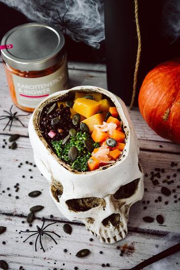 halloween bowl dein grusel rezept fermentierte Karottensticks