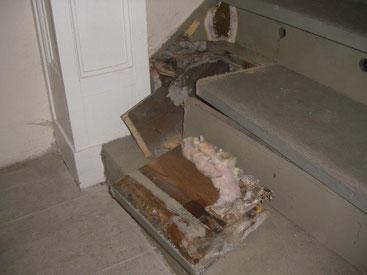 Treppe zur Empore, Hausschwammbefall mit Fruchtkörper (braun)