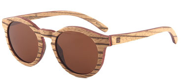 Wooden sunglasses skateboard wood round zebra wood