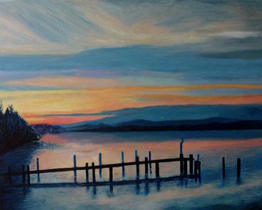 Murtensee Sonnenuntergang 100 x 80 cm Oel v