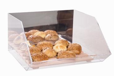 Présentoir pour petits pains avec miroir et caillebotis en bois 9408001, FMU GmbH, Accessoires de vente