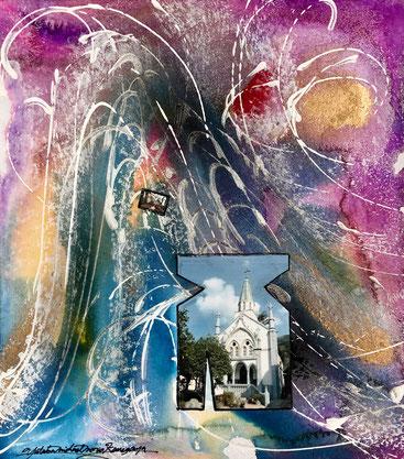 「教会と天国」 色紙大