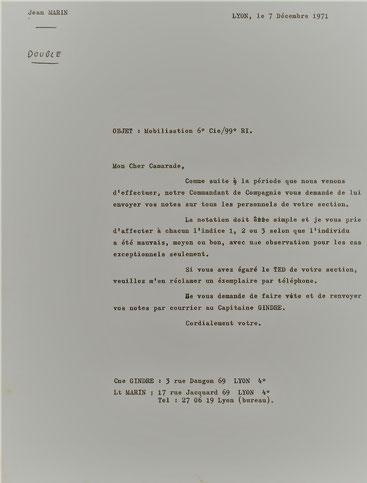 directives du  CNE commandant la 6e Cie     sur la notation des personnels