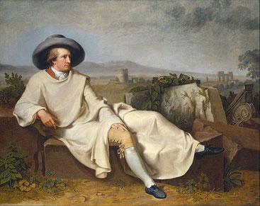 """Ölgemälde: """"Goethe in der (römischen) Campagna"""", von Johann Heinrich Wilhelm Tischbein, 1786/87"""