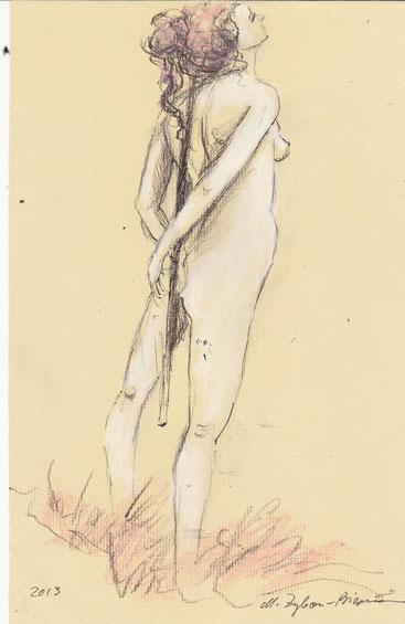 O. Titel, Bleistift, Kreide, Tusche, auf Ingres-Papier, DIN A4, 2012