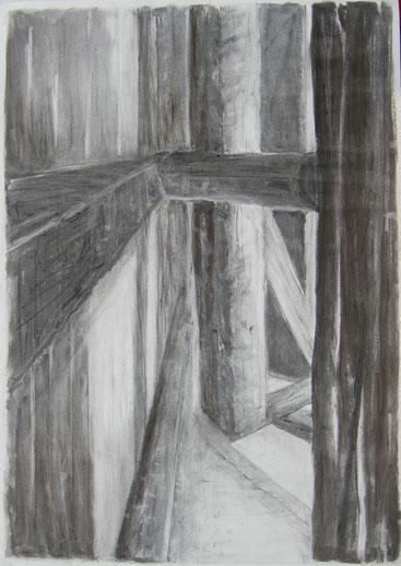 Stadel 4,  84x59cm,  Zeichnung Kohle 2019