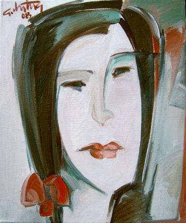 """""""Rote Schleife im Haar"""", 2008, Öl / Leinwand, 60 x 50 cm"""