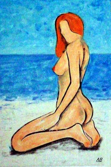 Nacked Beachgirl, Pastellgemälde, Frau, Strand, Meer, Akt, Erotik, Girl,Aktmalerei, Landschaftsbild, Pastellmalerei, Pastellbild