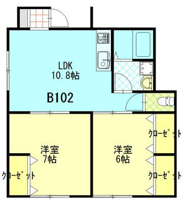 ファミーユ成島 B102 間取図 ※間取り図は現況優先とします。