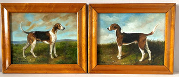 Richard Dodd Widdas 1826-1885, gun dogs in a landscape, a pair