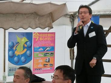 成田空港のPRを行う成田国際空港(株)濱田上席執行役員